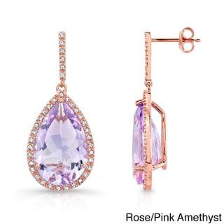 Pear Gemstone and 1/3ct TDW Diamond Earrings (J-K, I2-I3)