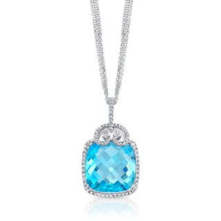 14k White Gold Blue Topaz and 1/2ct TDW Diamond Necklace (H-I, SI1-SI2)