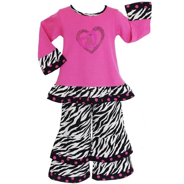 AnnLoren Girls 2-piece Crazy Hearts Zebra Outfit