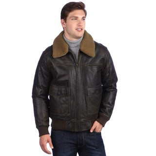 United Face Men's Brown Distressed Leather Bomber Jacket - Free ...