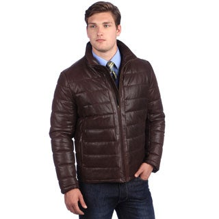 United Face Men's Brown Coated Leather Parka Puffer Jacket