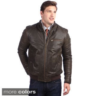 Leather Bomber Jacket Brown