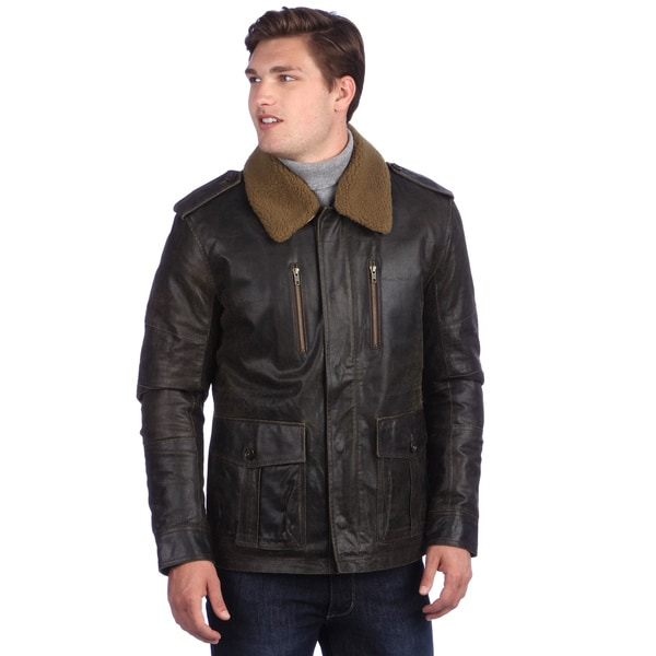 United Face Men's Brown Distressed Leather Military Jacket