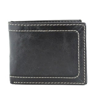 Men's Black Leather Distressed Bi-fold Wallet