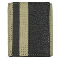 Men's Black/ Grey Leather Tri-fold Wallet