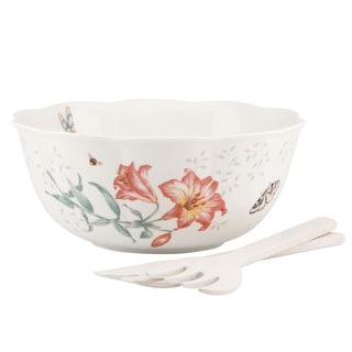 Lenox Butterfly Meadow Salad Bowl & Wooden Servers Set