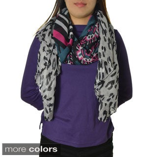 LA77 Multi Animal Print Scarf