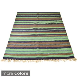 3 x 5-foot Traditional Hand-loom Striped Rug (India)