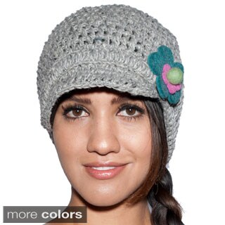 Sunny Daisy Hand-knit Women's Woolen Newsboy Hat (Nepal)