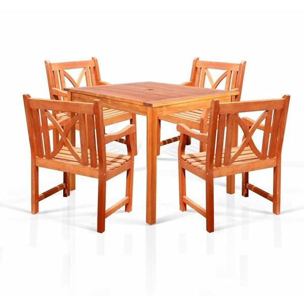 Benza Square Eco-friendly Eucalyptus 5-piece Dining Set