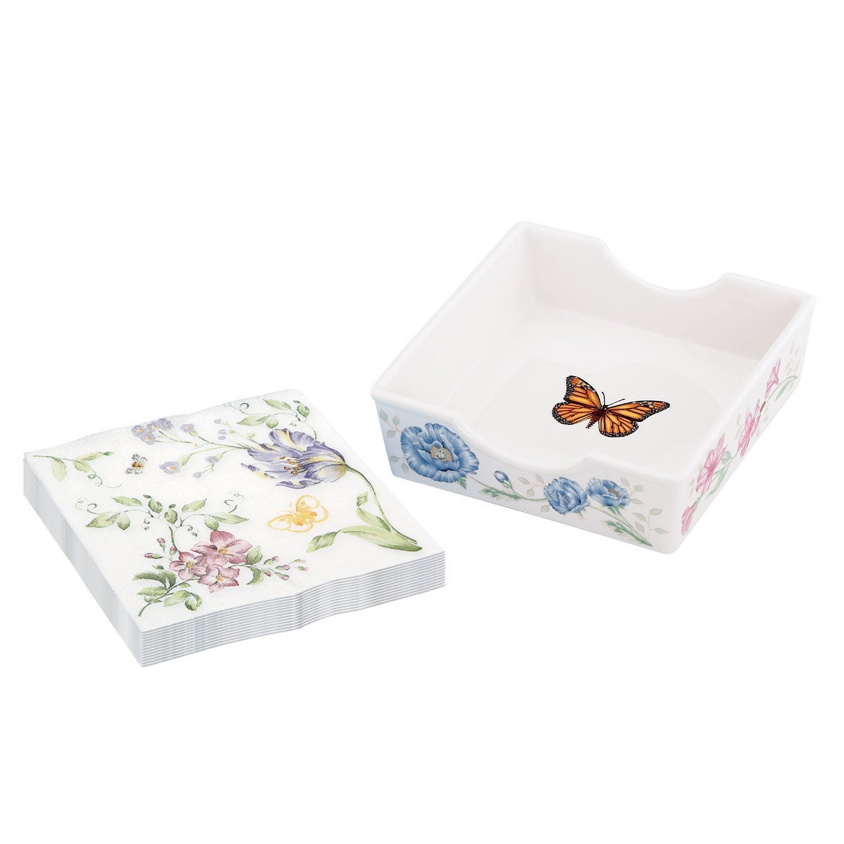 Lenox Butterfly Meadow Napkin Box with Printed Napkins, M...