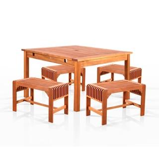 Benza Square Eucalyptus 5-piece Backless Dining Set