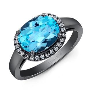 Black-plated Silver Blue Topaz and 1/6ct TDW Diamond Ring (J-K, I2-I3)