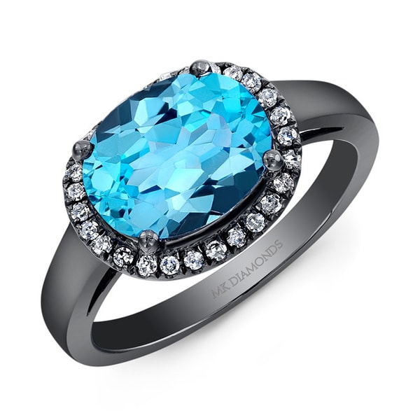 Black-plated Silver Blue Topaz and 1/6ct TDW Diamond Ring (J-K, I2-I3)