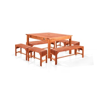 Benza Dining Set with Square Table, 2 Backless Benches and 4 Backless Chairs