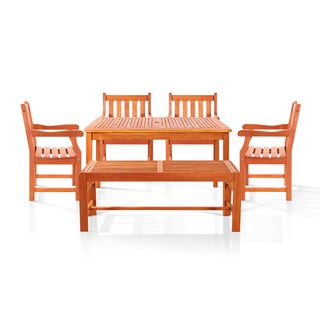 Bonsi Dining Set with Rectangulate Table, Backles Bench and 4 Armchairs