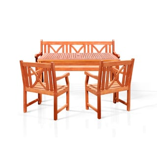 Bonsi 4-piece Dining Set with Rectangulate Table, 5-foot Bench and Two Arm Chairs