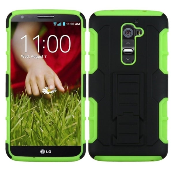 INSTEN Black/ Green Phone Case Cover with Stand for LG D801 Optimus G2/ D800 G2