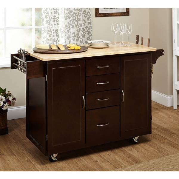 Simple Living Espresso/Natural Country Cottage Kitchen Cart   Free Shipping  Today   Overstock.com   15709783