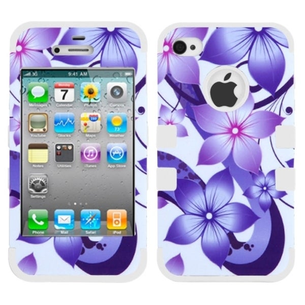 INSTEN Hibiscus Flower Romance/ White TUFF Phone Case Cover for Apple iPhone 4/ 4S