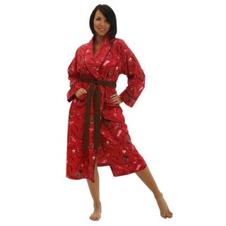 Del Rossa Women's Flannel Bath Robe (One Size Fits Most)
