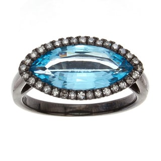 Sterling Silver and Black Rhodium 1/5ct TDW White Diamond and Blue Topaz Ladies Ring (J-K, I2-I3)