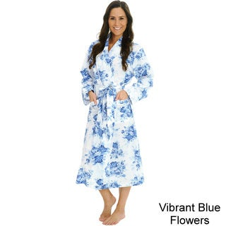 Del Rossa Women's Woven Cotton Robe (One Size Fits Most)