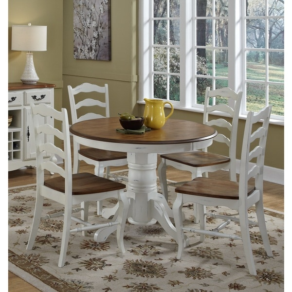 5pc Round Pedestal Drop Leaf Kitchen Table 4 Chairs: Home Styles The French Countryside Pedestal Dining Table