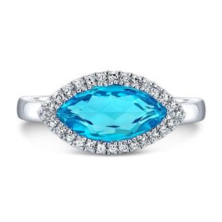 Sterling Silver Blue Topaz and 1/6ct TDW Diamond Ring (J-K, I2-I3)