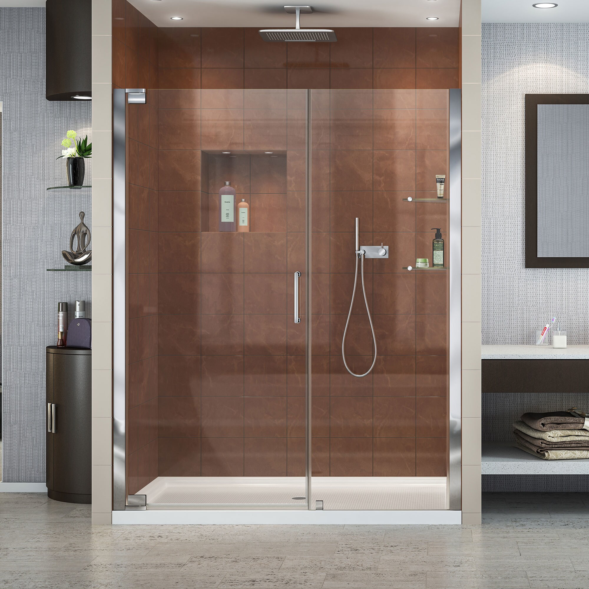 DreamLine Elegance Frameless Pivot Shower Door and SlimLine 32 in. by 60 in. Single Threshold Shower (Brushed Nickel Hardware; Biscuit Base; Center