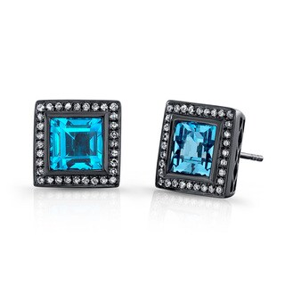Black Rhodium-plated Silver Blue Topaz and 1/3ct TDW Diamond Earrings (J-K, I2-I3)