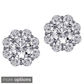 14k/18k Gold 1 7/10ct TDW Scalloped Diamond Halo Stud Earrings (G-H, SI1-SI2)