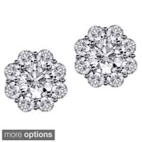 14k/18k Gold 1 7/10ct TDW Scalloped Diamond Halo Stud Earrings