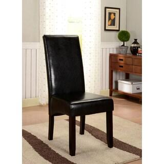 K&B Black Leatherette Parson Chairs (Set of 2)