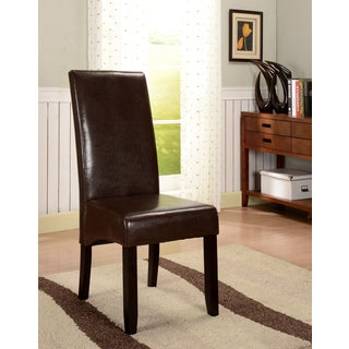 K&B Brown Leatherette Parson Chairs (Set of 2)