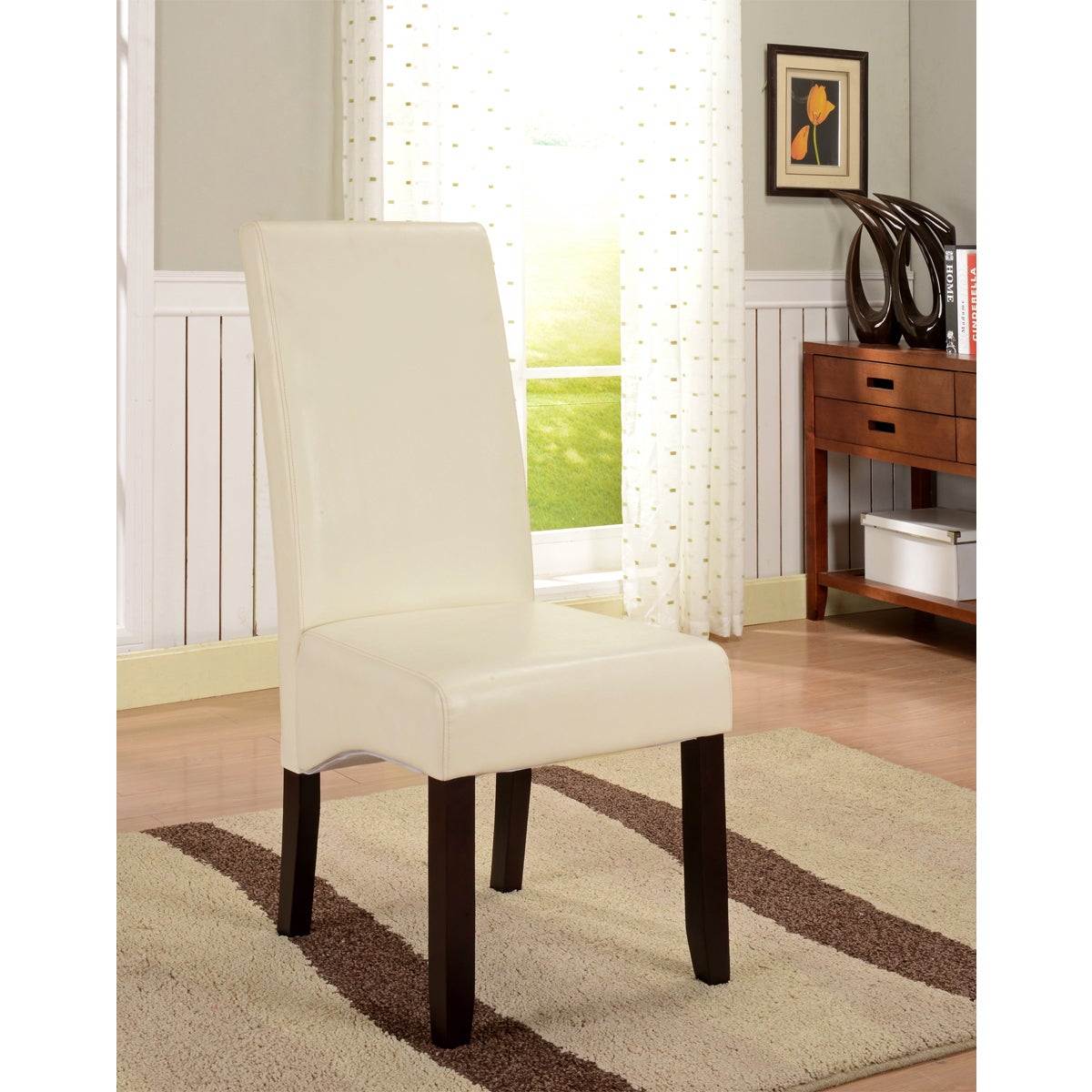 K&B Cream Leatherette Parson Chairs (Set of 2) (Set of 2 ...