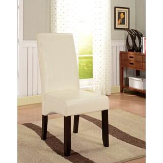 K&B Cream Leatherette Parson Chairs (Set of 2)