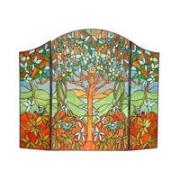 Chloe Tiffany-style 'Tree of Life' Fireplace Screen