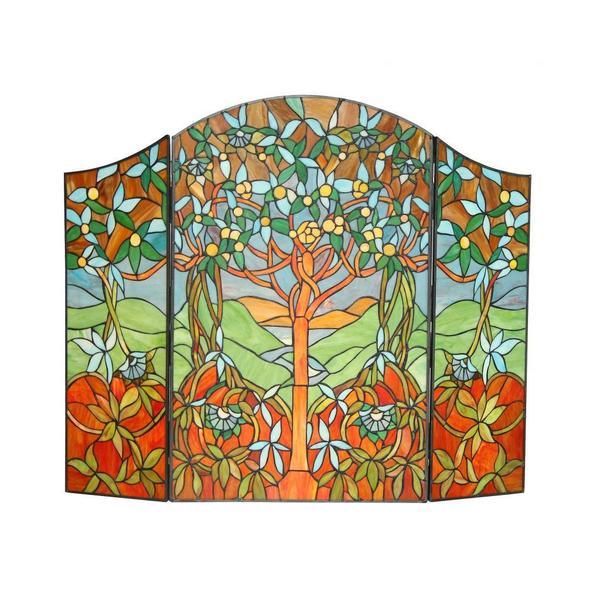 Tiffany-Style 'Tree of Life' Fireplace Screen
