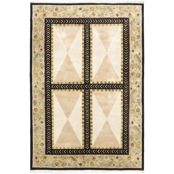 Hand-knotted Opulence Cream Wool Rug (5'9 x 8'6)