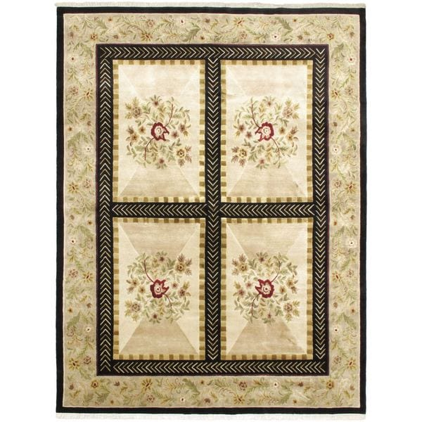 Hand-knotted Opulence Cream Wool Rug (5'10 x 8'8)