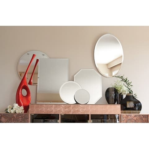 Frameless Beveled Oval Wall Mirror - 36 x 24