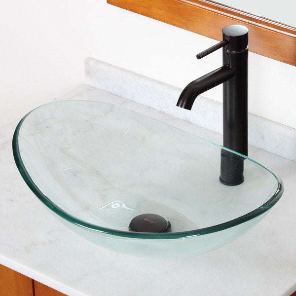 Tempered Glass Vessel Sink : Elite GD33F371023C Tempered Bathroom Glass Vessel Sink W. Unique Oval ...