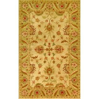 Golden Beige/ Light Green Wool Area Rug (3'6 x 5'6)
