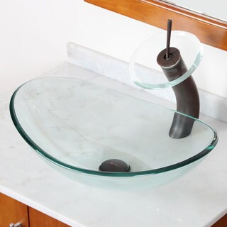 Elite Tempered Bathroom Oval Glass Vessel Sink/ Faucet Combo