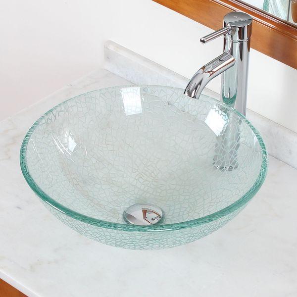 Elite S25F371023C Clear Cracking Glass Bathroom Vessel Chrome Combo Sink