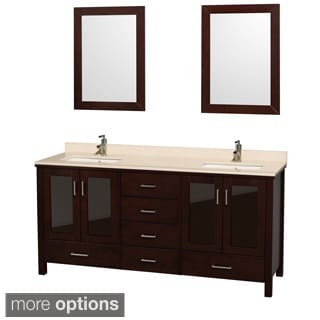 Wyndham Collection Lucy 72-inch Espresso 2-mirror Double Bathroom Vanity