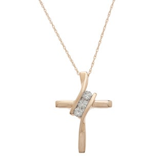 14k Yellow Gold 1/4ct TDW Diamond Cross Necklace (H-I, I2-I3)