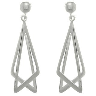 Carolina Glamour Collection Sterling Silver Double Triangle Earrings