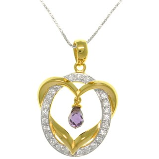 14k Gold Over Silver Heart Pendant with Round Ring of CZ Crystals on Box Chain Necklace